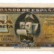 Billetes españoles: 1 PESETA SEPTIEMBRE 1940 - SERIE D. Lote 166962448