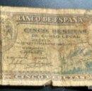Billetes españoles: BILLETE 5 PESETAS 4 SEPTIEMBRE 1940 - ALCAZAR DE SEGOVIA. Lote 166989264