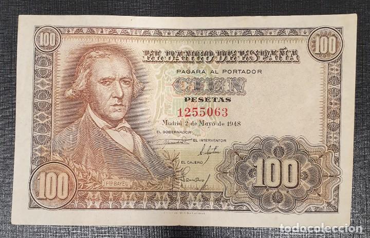 BILLETE 100 PESETAS 1948 SIN SERIE BAYEU (Numismática - Notafilia - Billetes Españoles)