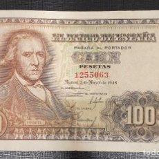 Billetes españoles: BILLETE 100 PESETAS 1948 SIN SERIE BAYEU. Lote 167462380