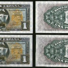 Billetes españoles: 1 PESETA SEPTIEMBRE 1940 PAREJA SIN SERIE (1º EMISIÓN) - BARCO SANTA MARIA - BILLETE PLANCHA. Lote 167512940