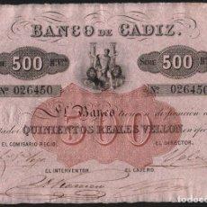 Billetes españoles: 500 REALES DE VELLON 1847 BANCO DE CADIZ EBC+/S/C-. Lote 167175788