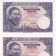 Billetes españoles: 2 BILLETES 25 PESETAS 1954 - CONSECUTIVOS / PLANCHA. Lote 167586568