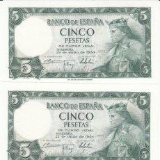 Billetes españoles: 3 BILLETES 5 PESETAS 1954 - CORRELATIVOS / PLANCHA. Lote 167587132
