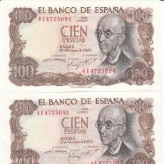 Billetes españoles: 3 BILLETES 100 PESETAS 1970 - CORRELATIVOS / PLANCHA. Lote 167587788