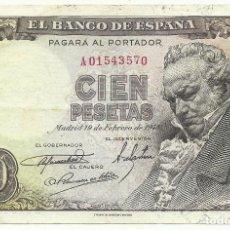 Billetes españoles: (BI-14BIS)BILLETE DE 100 CIEN PESETAS - MADRID - 19 DE FEBRERO DE 1946. Lote 167642168