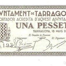 Billetes españoles: BILLETE DE ESPAÑA DEL AYUNTAMIENTO DE TARRAGONA 1 PESETA 1937 BUEN ESTADO. Lote 167835816