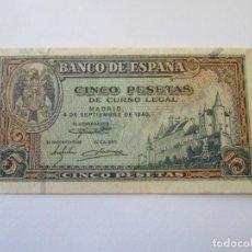Billetes españoles: BILLETE * 5 PESETAS 4 DE SEPTIEMBRE DE 1940. Lote 168070864