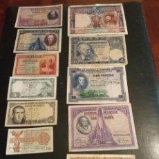 Billetes españoles: LOTE DE 12 BILLETES DE 1000, 500, 100, 50, 25, 10, 5, Y 1 PESETAS (VER FOTOS). Lote 168696968