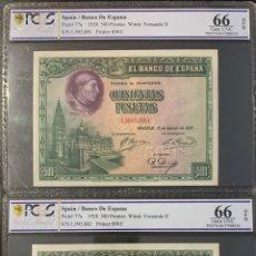 Billetes españoles: PCGS 66 PAREJA 500 PESETAS 1928 CERTIFICADA PLANCHA LUJO. Lote 169744950
