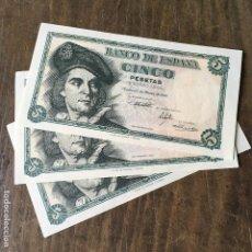 Billetes españoles: TRIO CORRELATIVO DE BILLETES DE 5 PESETAS DE 1948 EN PLANCHA SIN CIRCULAR SC. Lote 169887642