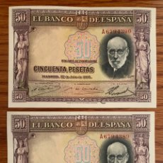 Billetes españoles: RARÍSIMA PAREJA 50 PESETAS 1935. SERIE A. MUY RARA. Lote 170000808