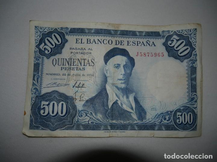 BILLETE 500 PESETAS 1954 SERIE J (Numismática - Notafilia - Billetes Españoles)