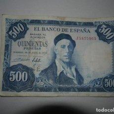 Billetes españoles: BILLETE 500 PESETAS 1954 SERIE J. Lote 170070468