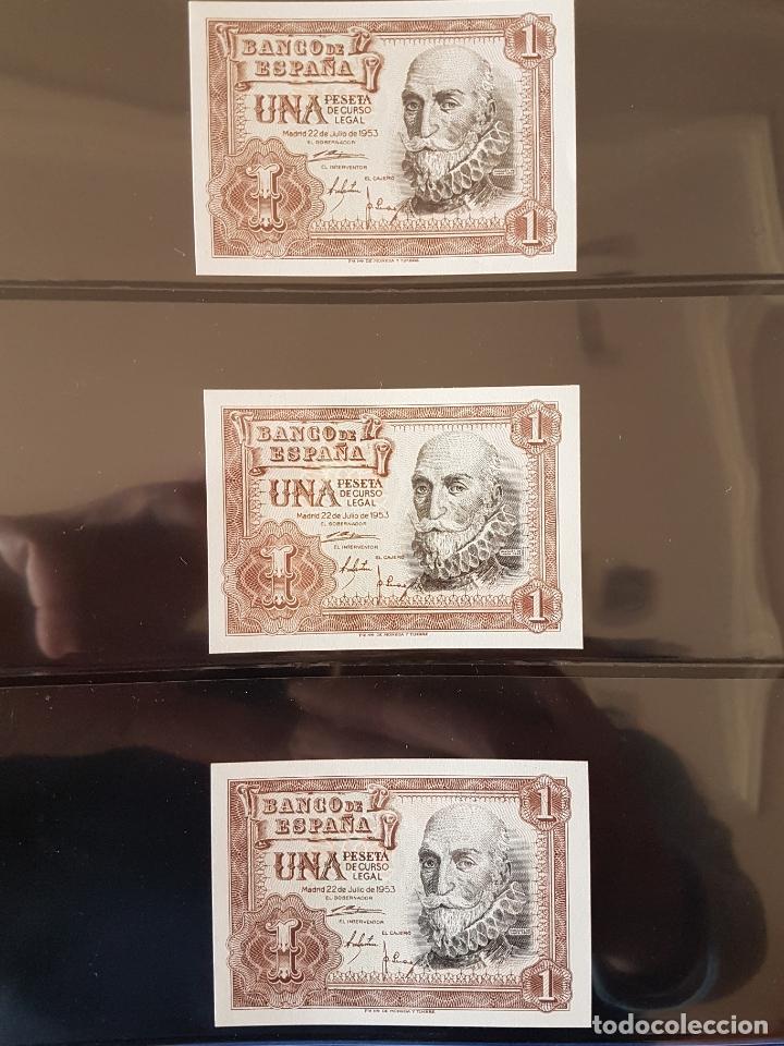 Billetes españoles: 6 billetes 1 pta 1953 correlativos y plancha - Foto 2 - 170410908