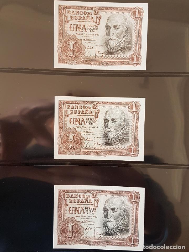 6 BILLETES 1 PTA 1953 CORRELATIVOS Y PLANCHA (Numismática - Notafilia - Billetes Españoles)