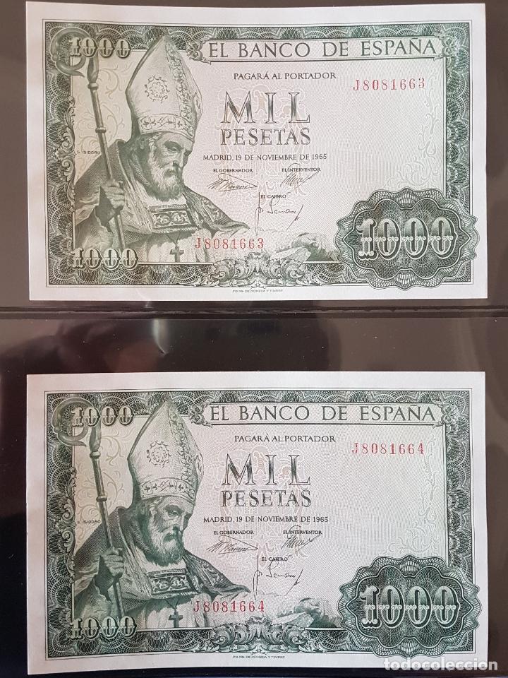 2 BILLETES 1000 PTAS 1965 SERIE J CORRELATIVOS Y PLANCHA (Numismática - Notafilia - Billetes Españoles)