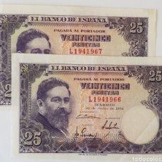 Billetes españoles: PAREJA CORRELATIVA. 25 PTS 1954. ALBENIZ. SERIE L. EBC Y SC-. Lote 170416888