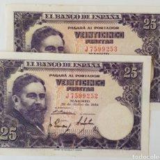 Billetes españoles: PAREJA CORRELATIVA. 25 PTS 1954. ALBENIZ. SERIE J. DE EBC A SC-. Lote 170436110