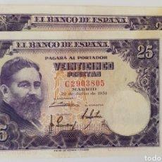 Billetes españoles: PAREJA CORRELATIVA. 25 PTS 1954. SERIE C. EBC-. Lote 170437284