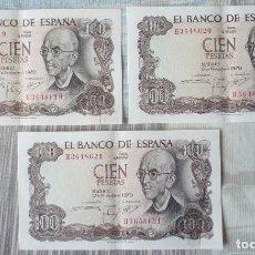 Billetes españoles: TRES BILLETES CORRELATIVOS DE 100 PTAS. DE 1970. Lote 171247920