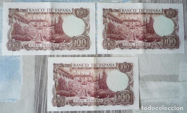 Billetes españoles: TRES BILLETES CORRELATIVOS DE 100 PTAS. DE 1970 - Foto 2 - 171247920