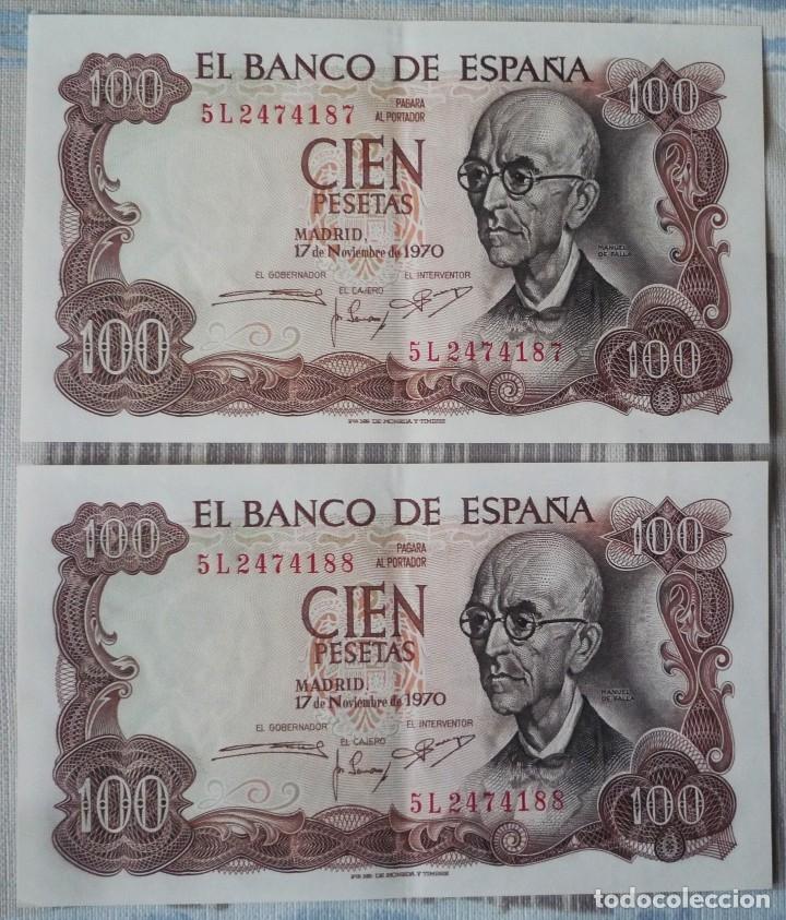 DOS BILLETES CORRELATIVOS DE 100 PTAS. DE 1970 (Numismática - Notafilia - Billetes Españoles)