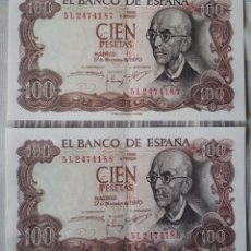 Billetes españoles: DOS BILLETES CORRELATIVOS DE 100 PTAS. DE 1970. Lote 58693258