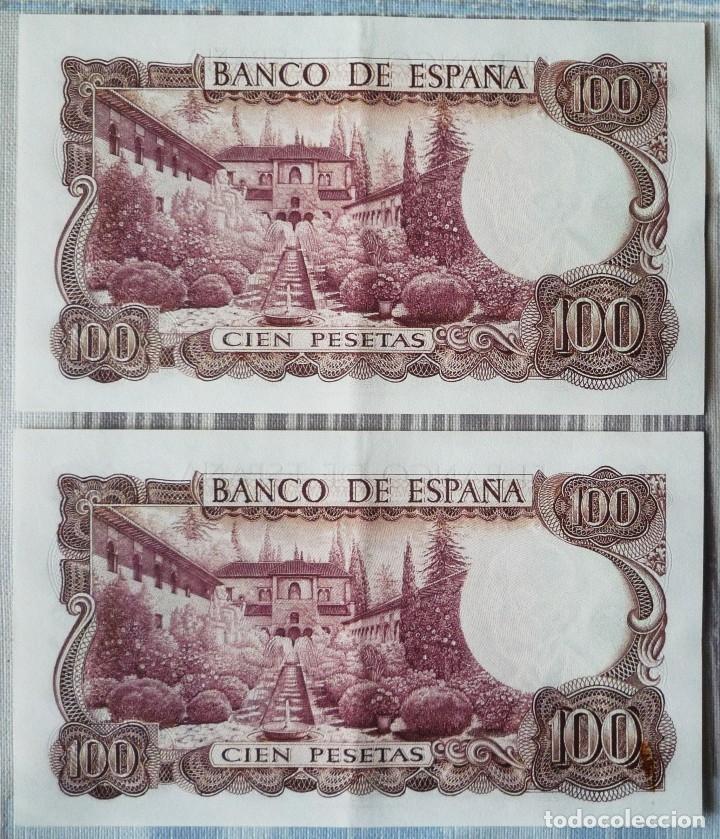 Billetes españoles: DOS BILLETES CORRELATIVOS DE 100 PTAS. DE 1970 - Foto 2 - 58693258