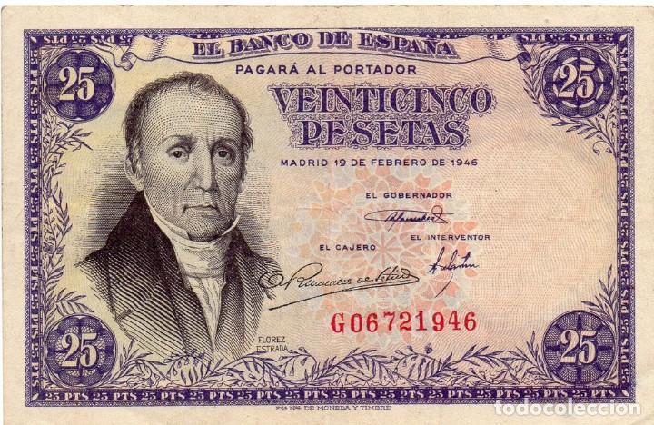 25 PESETAS BILLETE BANCO DE ESPAÑA SERIE G, 1946 (Numismática - Notafilia - Billetes Españoles)