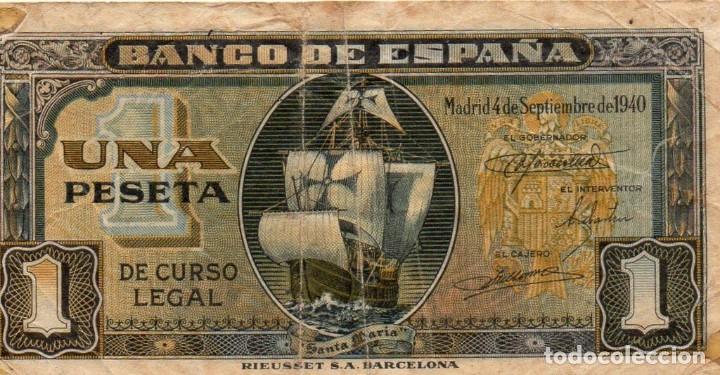 BILLETE 1 PESETA. 4 DE SEPTIEMBRE 1940. SIN SERIE (Numismática - Notafilia - Billetes Españoles)
