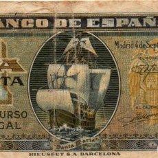 Billetes españoles: BILLETE 1 PESETA. 4 DE SEPTIEMBRE 1940. SIN SERIE. Lote 171431543