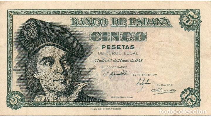 BILLETE 5 PESETAS 1948 , MBC , SERIE C , ORIGINAL (Numismática - Notafilia - Billetes Españoles)