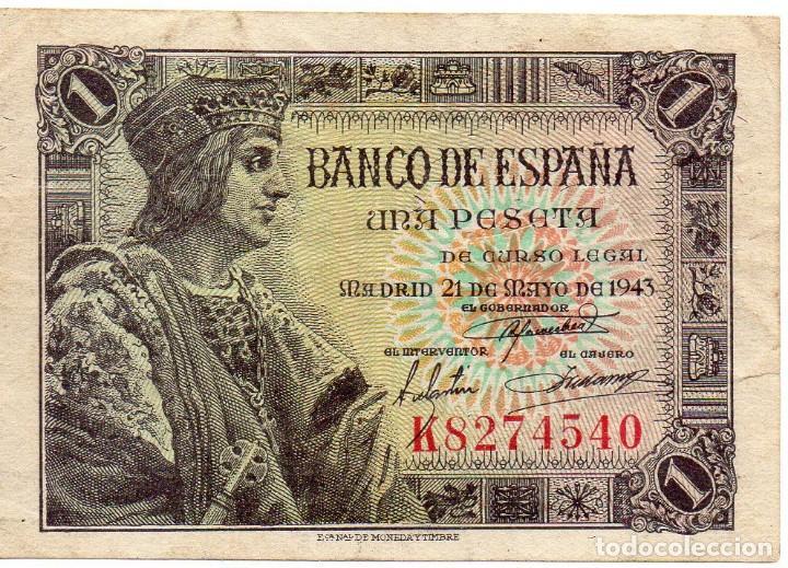 BILLETE DE 1 PESETA DE 1943 SERIE K (Numismática - Notafilia - Billetes Españoles)
