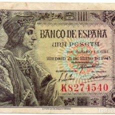 Billetes españoles: BILLETE DE 1 PESETA DE 1943 SERIE K. Lote 171431893