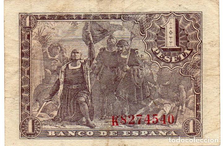 Billetes españoles: BILLETE DE 1 PESETA DE 1943 SERIE K - Foto 2 - 171431893