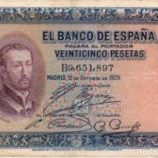 Billetes españoles: 25 PESETAS. 1926. SERIE B.. Lote 171432090