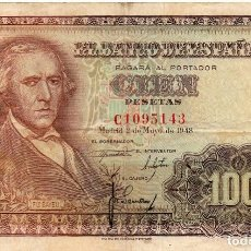 Billetes españoles: 100 PESETAS 1948 BAYEU SERIE C. Lote 171432260