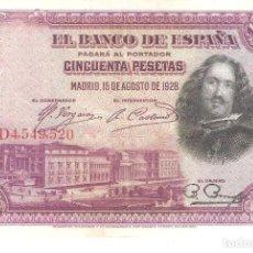 Billetes españoles: BILLETE DE ESPAÑA DE 50 PESETAS DE 1928 CIRCULADO VELAZQUEZ. Lote 171533122