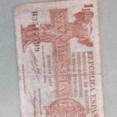 Billetes españoles: BILLETE 1 PESETA DE LA REPÚBLICA EMITIDA 1937. VER FOTO. Lote 171743630