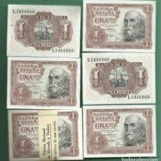 Billetes españoles: 5 BILLETES DE 1 PESETA 1953 CORRELATIVOS, PLANCHA. SERIE L. Lote 171837280