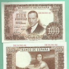 Billetes españoles: 2 BILLETES DE 100 PESETA 1953 CORRELATIVOS, PLANCHA. SERIE 2R. Lote 171973170