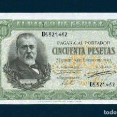 Billetes españoles: 50 PESETAS 1940 SERIE. D. PLANCHA.-- LUJO.. Lote 171973680