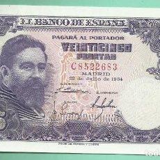 Billetes españoles: BILLETE DE 25 PESETAS 1954 PLANCHA. SERIE C . Lote 171974620