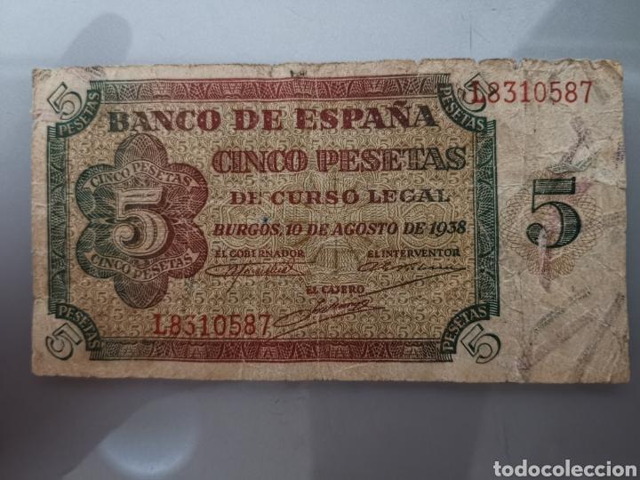 BILLETE 5 PESETAS 1938 SERIE L 10 DE AGOSTO (Numismática - Notafilia - Billetes Españoles)