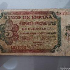 Billetes españoles: BILLETE 5 PESETAS 1938 SERIE L 10 DE AGOSTO. Lote 171993069