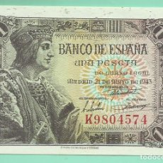 Billetes españoles: BILLETE DE 1 PESETA 1943. PLANCHA. SERIE K. FERNANDO EL CATÓLICO. Lote 172088415