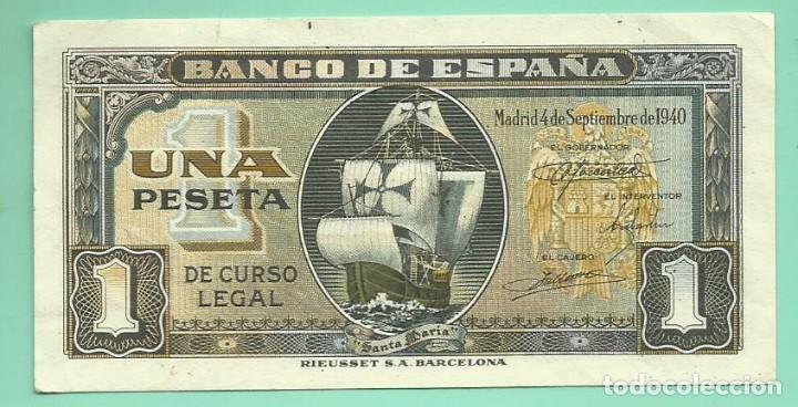 BILLETE DE 1 PESETA 1940. PLANCHA. SERIE F.BANCO DE ESPAÑA (Numismática - Notafilia - Billetes Españoles)