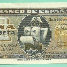 Billetes españoles: BILLETE DE 1 PESETA 1940. PLANCHA. SERIE F.BANCO DE ESPAÑA. Lote 172093293