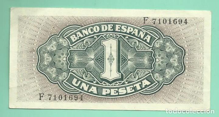 Billetes españoles: BILLETE DE 1 PESETA 1940. PLANCHA. SERIE F.BANCO DE ESPAÑA - Foto 2 - 172093293